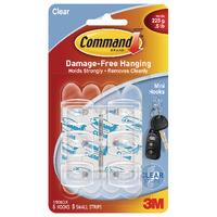 3M Command Mini Clear Hooks/Clear Strips