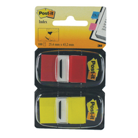 Post-it Red/Yellow Index 1in Dual Pack