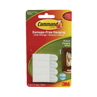 3M Command Sml Picture Hanging Strip Pk4