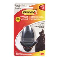 3M Command Adh Double Hook Slate Pk2