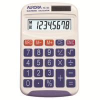 Aurora Wht 8-digit Hand Calculator HC133