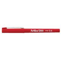 Artline 200 Red Fineliner Pen Pk12