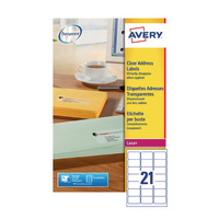 Avery L7560-25 Laser Labels Clear Pk25