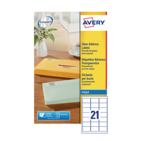 Avery Clear I/Jet Labels 63.5x38.1