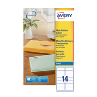 Avery Clear I/Jet Labels 99.1x38.1 Pk350