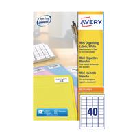 Avery L7654-25 Laser Mini Labels 40x25