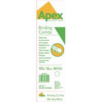 Fellowes Apex Plas White 16mm Comb Pk100