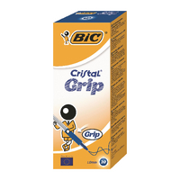 Bic Cristal Grip Blue Med Ball Pen Pk20
