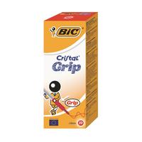 Bic Red Cristal Grip Med Ball Pen Pk20