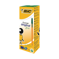 Bic Orange Fine Ballpoint Green Pen Pk20