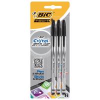 Bic Cristal Black Stylus Ball Pens Pk3