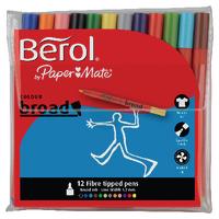 Berol Colourbroad Pen Asstd WB Ink Pk12
