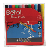 Berol Colourbrush Pen Asstd WB Ink Pk12