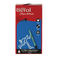 Berol Black Colourfine Pens Pk12