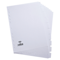 Elba A4 10-Pt White Card Divider 160gsm