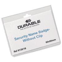 Durable Sec Badge/ No Clip 60x90mm Pk20
