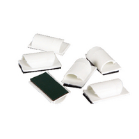 D-Line Wht Self Adh Cable Tidy Clips Pk6