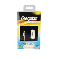 Energizer Wht USB Car Charge/Apple Cable