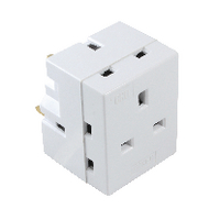 CED 3Way Adaptor Fused 13amp White WAP3W
