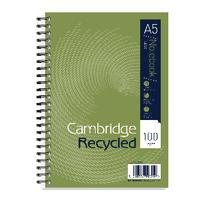 Cambridge Rcycled A5 Notebook 2 Hole Pk5