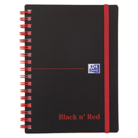Black n Red Poly/Wire A6 Ruled Notebook