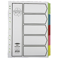 Concord Dividers A4 5 Part Pastel 48099