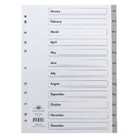 Concord A4 Index Jan-Dec Grey 63005