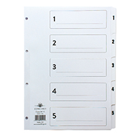 Concord A4 Index 1-5 Board Clear Tabs