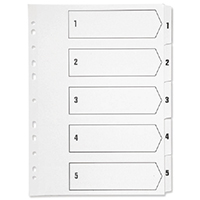 Q-Connect White A4 Punched 1-5 Index