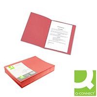 Q-Connect Red Sq Cut Folder 180gsm Pk100