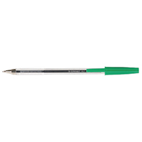Q-Connect Med Green Ball Point Pen Pk20