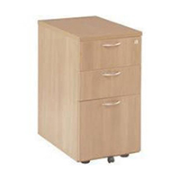 FF Jemini 3 Drw Desk High Ped 600 Beech