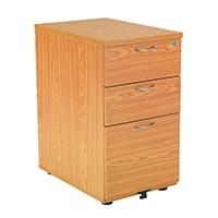 FF Jemini 3 Drw Desk High Ped 600 Oak