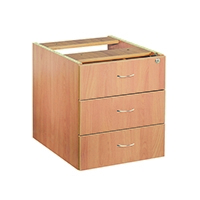 FF Jemini 3 Drawer Fixed Ped Beech