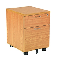 FF Jemini 2 Drawer Mobile Ped Oak