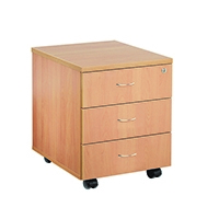 FF Jemini 3 Drawer Mobile Ped Beech