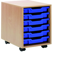 Jemini Beech Mobile Storage 6 Blue Trays