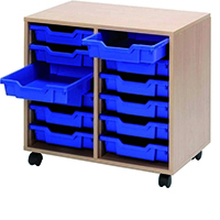 Jemini Beech Mobile Unit 12 Blue Trays