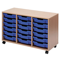 Jemini Beech Mobile Unit 18 Blue Trays