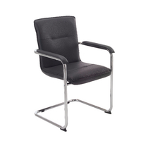Arista Visitor Chair Leather Look Black