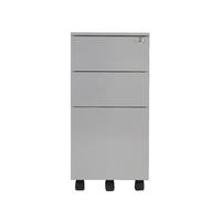 Fr First Steel Slim U Desk Ped 3dr Silv