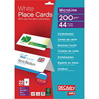 Decadry 210x63.5mm White Place Card Pk44