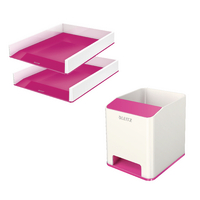 Leitz WOW LetterTray Pink x 2 FOC PenPot