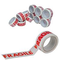 Printed Tape Fragile PP White Red Pk6