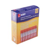 Nobo Liq Dry Wipe Bullet Red Marker Pk12
