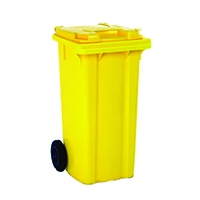 Yellow 2 Wheel Refuse Container 80 Ltr