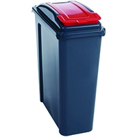 VFM Red Recycling Bin With Lid 25 Litre