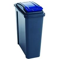 VFM Blue Recycling Bin With Lid 25 Litre