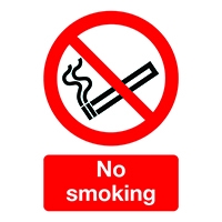 Safety Sign No Smoking A5 Self-Adhesive