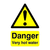 Danger V.Hot Water 75x50mm Self-Adh Sign